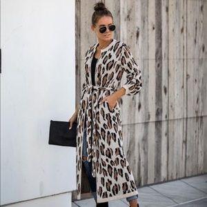 NWOT Vici Leopard Belted Pocketed Duster